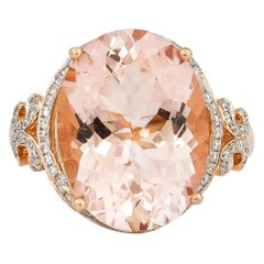 8.3 Carat Morganite and Diamond Ring in 18 Karat Rose Gold