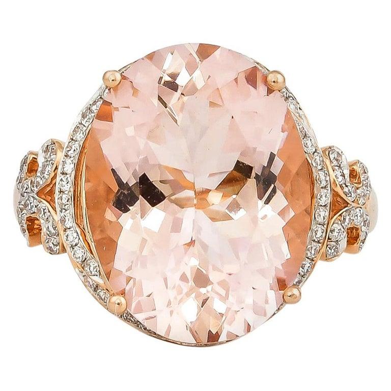 8.3 Carat Morganite and Diamond Ring in 18 Karat Rose Gold For Sale