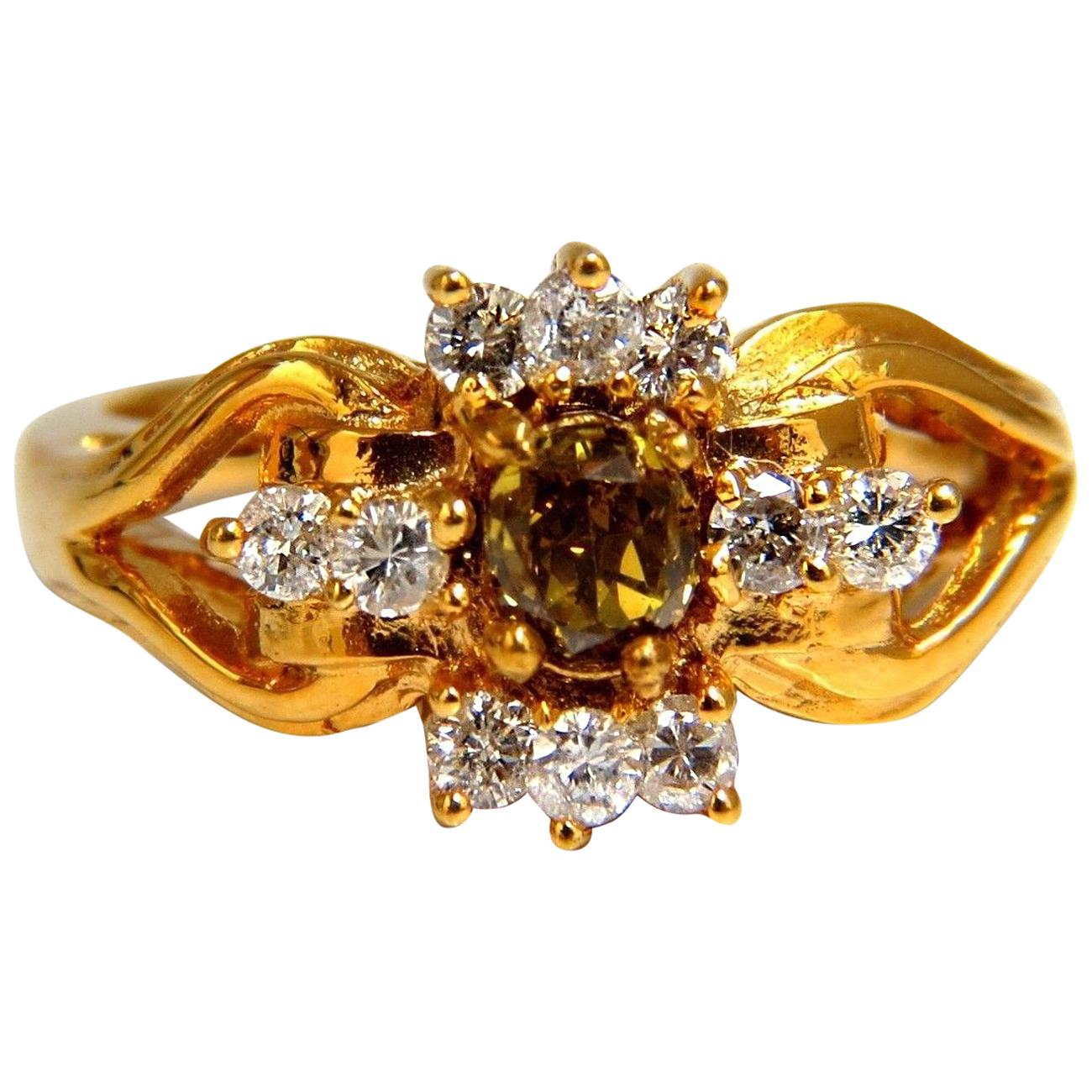 .83 Carat Natural Fancy Vivid Yellow Brown Diamond Ring 14 Karat