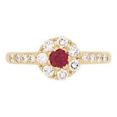 .83 Carat Round Cut Ruby and Diamond Ring, 18 Karat Yellow Gold Floral Halo