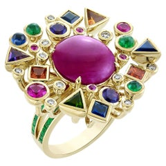 8.3 Carat Ruby Cabochon Multicolored Ring with Emerald Band in 18 Karat Gold