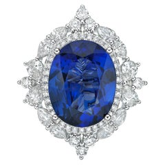 8.3 Carat Tanzanite and White Diamond Ring in 18 Karat White Gold