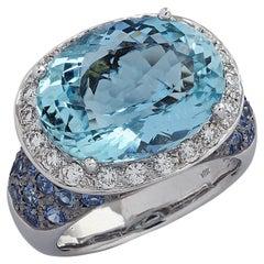 8.30 Carat Aquamarine, Diamond and Blue Sapphire Cocktail Ring