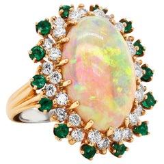 8.30 Carat Ethiopian Opal Emeralds Diamonds 14 Karat Gold Cocktail Ring