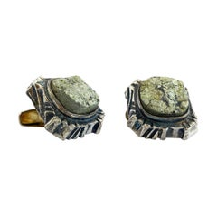 830 Silver 1975 Rare Finland Pentti Sarpaneva Pyrite Stone Cufflinks