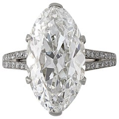 8.31 Carat H SI1 Moval Diamond Ring with Elegant Diamond Setting by Hancocks