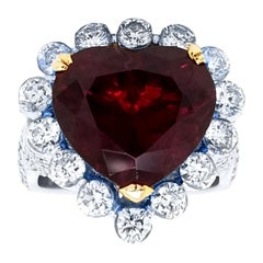 8.31 Ct Heart Shaped Pigeon Blood Red Rubelite Invisible Set Ring with Halo