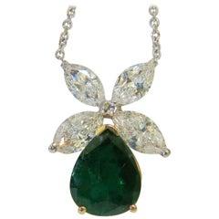 8.31 Carat Natural Diamond Emerald Pendant Star