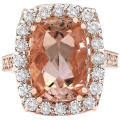 8.31 Carat Natural Morganite 18 Karat Rose Gold Diamond Ring