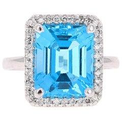 8.32 Carat Blue Topaz Diamond 14 Karat White Gold Cocktail Ring