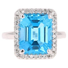 8.32 Carat Blue Topaz Diamond White Gold Cocktail Ring