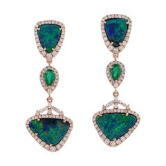 8.32 Carat Opal Emerald Diamond 18 Karat Gold Earrings