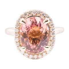 8.32 Carat Oval Pink Tourmaline 0.80 Carat Diamond 18 Carat Gold Cluster Ring