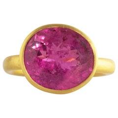 Ico & the Bird Fine Jewelry Rubellite Tourmaline Wave 22 Karat Gold Ring