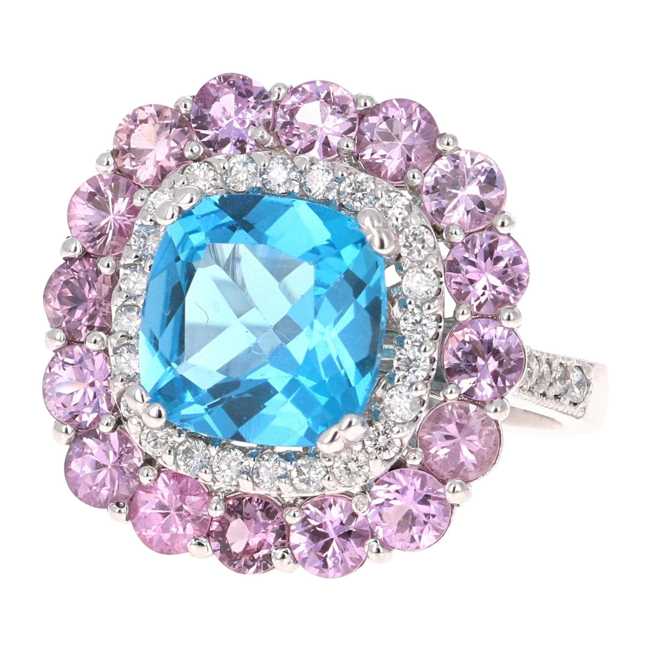 8.34 Carat Cushion Cut Blue Topaz Pink Sapphire Diamond White Gold Cocktail Ring