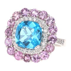 8.34 Carat Blue Topaz Pink Sapphire Diamond 14 Karat White Gold Cocktail Ring