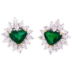 8.34 Carat Gubelin Certified Heart Shaped Emerald and White Diamond Earrings