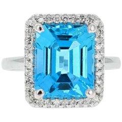 8.35 Ct Impressive Natural Swiss Blue Topaz & Diamond 14K Solid White Gold Ring