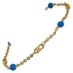 835 Golden Silver Bracelet with Blue Topaz Stones