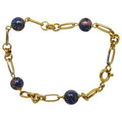 835 Golden Silver Bracelet with Cloisonne Beads