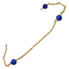 835 Golden Silver Bracelet with Lapis Lazuli Stones
