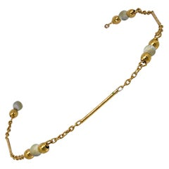 835 Golden Silver Bracelet with Mother of Pearl Stones