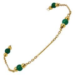 835 Golden Silver Bracelet with Peridot Stones