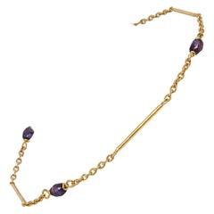 835 Golden Silver Bracelet with Purple Pearls