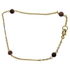 835 Golden Silver Bracelet with Tiger Eye Stones