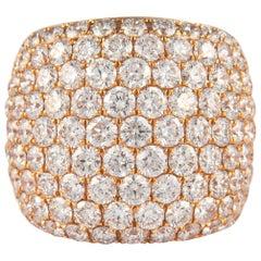 8.36 Carat Domed Pave Diamond Cocktail Ring 18 Karat Rose Gold