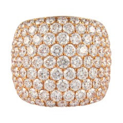 8.36 Carat Domed Pave Diamond Cocktail Ring 18 Karat Rose Gold