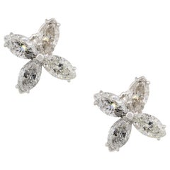 8.37 Carat Marquise Cut Diamond Flower Earring Studs Platinum in Stock