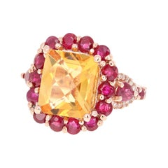 8.37 Carat Emerald Cut Citrine Ruby and Diamond 14 Karat Rose Gold Cocktail Ring