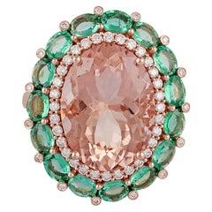 8.38 Carat Morganite Emerald Diamond Ring Studded in 18 Karat Rose Gold