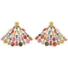 8.38 Carat Multi Sapphire 18 Karat Gold Fan Earrings