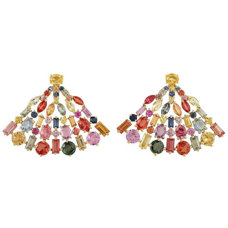 8.38 Carat Multi Sapphire 18 Karat Gold Fan Earrings For Sale