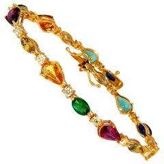 8.38 Carat Natural Tsavorite Sapphires Emeralds Diamond Tennis Bracelet 18 Karat
