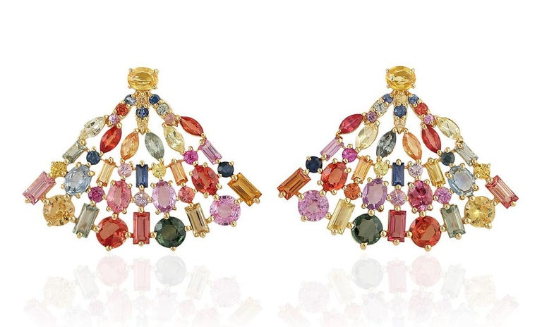 Rose Cut 8.38 Carat Multi Sapphire 18 Karat Gold Fan Earrings For Sale