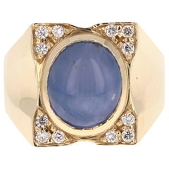 8.39 Carat Men's Sapphire Diamond 14 Karat Yellow Gold Ring