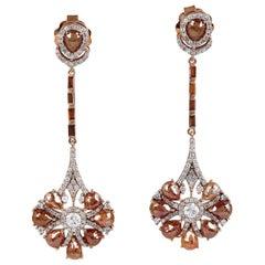 8.39 Carat Fancy Diamond 18 Karat Gold Earrings