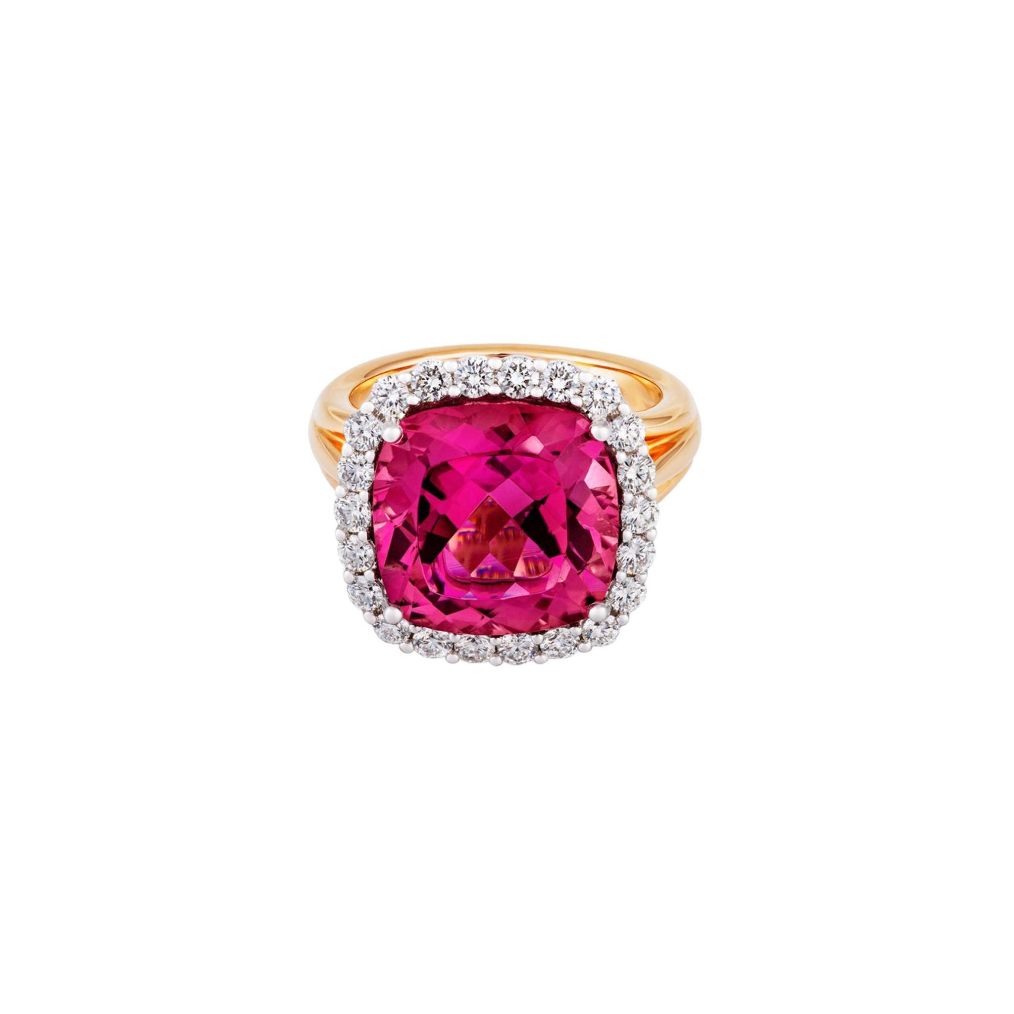 8.3ct Cushion Cut Pink Tourmaline .84ct Diamond 14kt Yellow Gold Ring