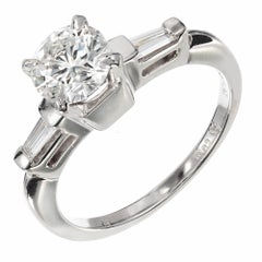 .84 Carat Round Baguette Diamond Platinum Solitair Engagement Ring