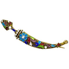 84 Gilt Silver Enamel Decoration Russia Saber Brooch