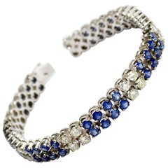 8.4 Sapphire and 3.5 Carat Diamond White Gold Two-Row Tennis Bracelet