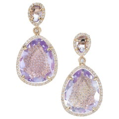 8.40 Carat Amethyst Diamond Rose Gold Dangle Earrings