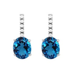 8.40 Carat Blue Topaz and Diamond Dangle Earrings