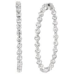 8.40 Carat Natural Diamond Hoop Earrings G SI 14 Karat White Gold 15 Points Each
