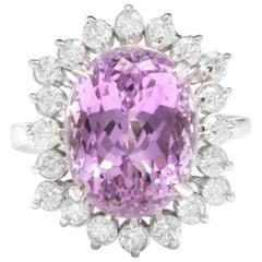 8.40 Carat Natural Kunzite and Diamond 14 Karat Solid White Gold Ring
