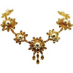 84.00 Carat Natural Color Golden Pearl and Deep Yellow Citrine Beaded Necklace