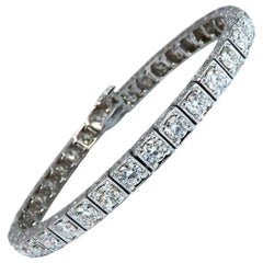 8.42 Carat Natural Diamonds Tennis Bracelet 14 Karat Gold Squared Box Bead Set